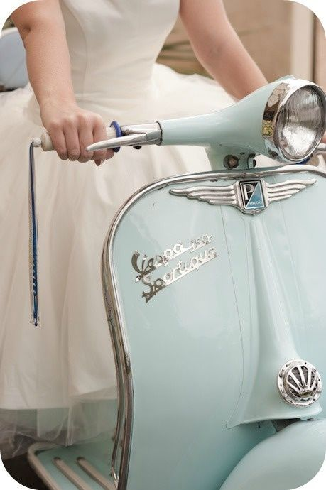 Vespa, in powder blue, and beautiful white dress. Now just add the streets of....Ireland, England, Paris & Rome!