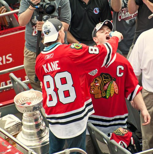Patrick Kane & Jonathan Toews Chicago Blackhawks  Im fairly certain its pictures like this that make people say that they are stupidly co-dependent