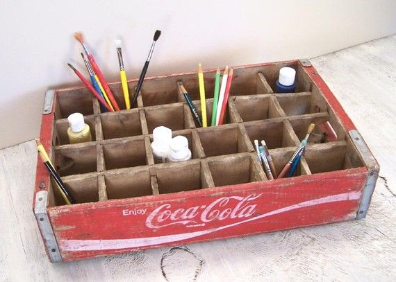 Perfect storage method for art supplies!  I have two of these I use as photo props :)