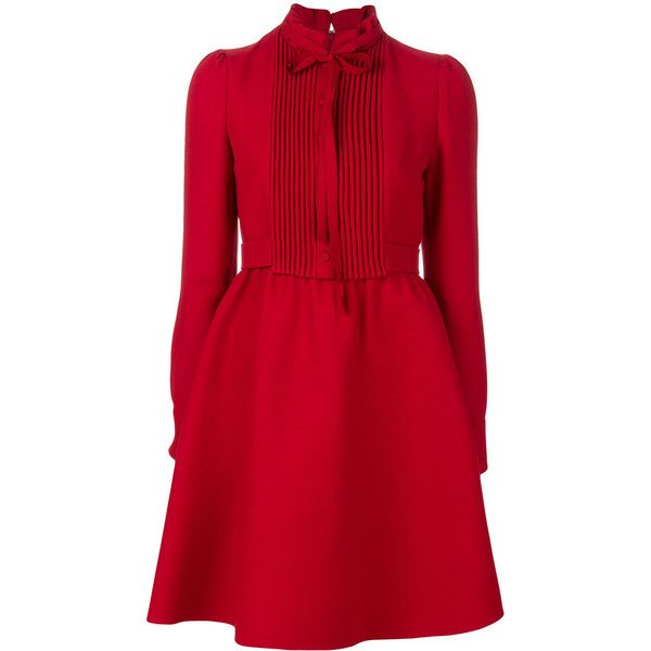 Valentino shirt dress (170.745 RUB) ❤ liked on Polyvore featuring dresses, red, longsleeve dress, red circle skirt, skater skirt, long-sleeve shirt dresses and long sleeve dress