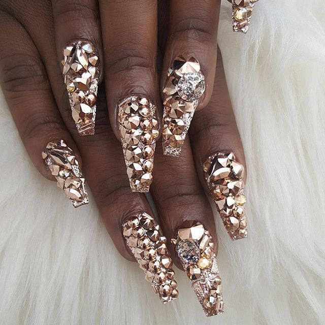 Rose Gold Ballerina Nails With Rhinestones   Rose Gold and ...
