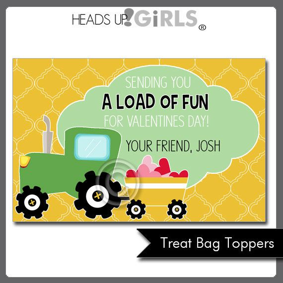 Tractor Valentine Cards : Personalized valentines day tractor cards or treat by