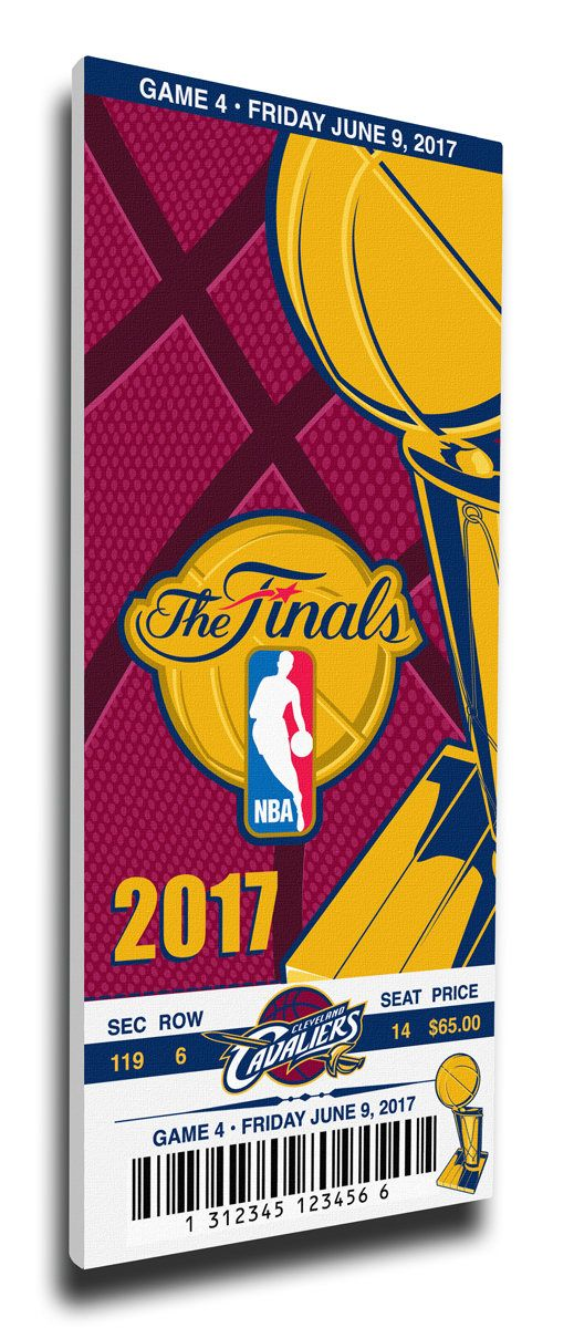 2017 NBA Finals Canvas Commemorative Game 4 Mega Ticket - Golden State Warriors at Cleveland Cavaliers
