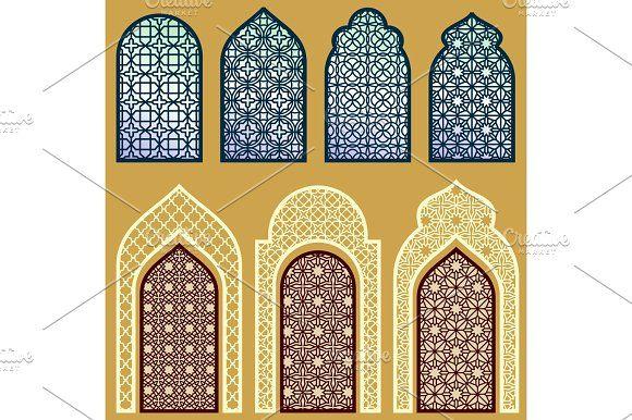 Islamic Windows And Doors With Arabian Art Ornament