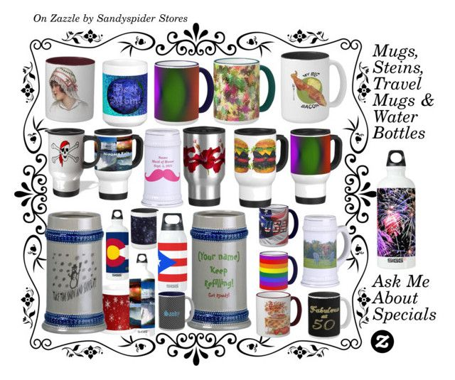 """""""Mugs, Steins, Travel Mugs & Water Bottles"""" by sandyspider ❤ liked on Polyvore featuring interior, interiors, interior design, home, home decor, interior decorating, SIGG, steins, mugs and zazzle"""