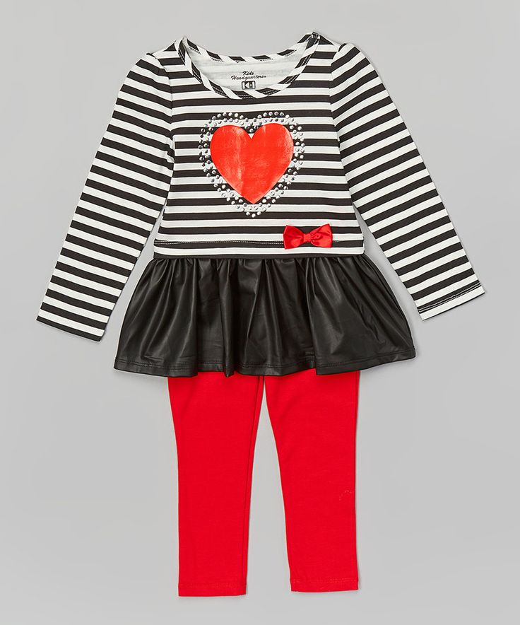 Look what I found on #zulily! Black Skirted Tunic & Red Leggings - Infant, Toddler & Girls by Kids Headquarters #zulilyfinds