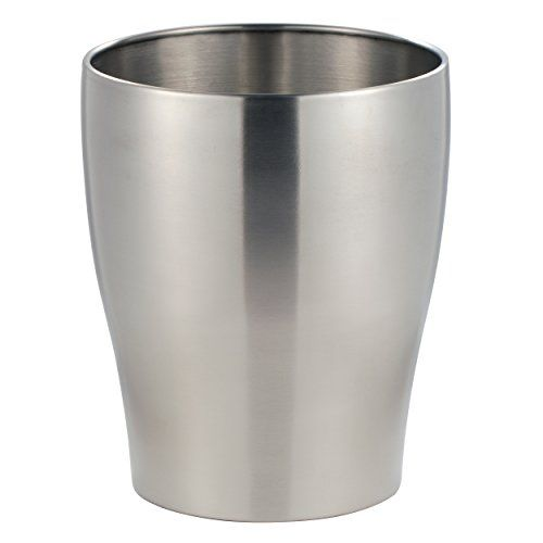 mDesign Wastebasket Trash Can for Bathroom Kitchen Office  Brushed Stainless Steel -- More info could be found at the image url. Note:It is Affiliate Link to Amazon.