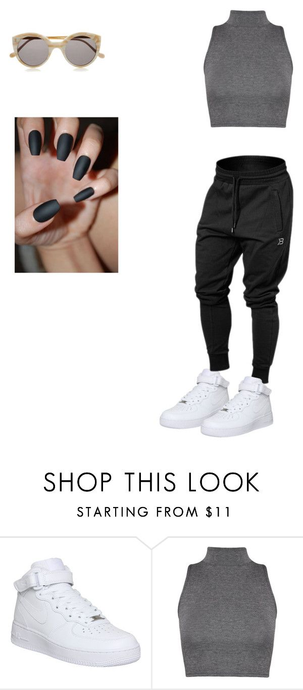 """""""nike air force 1's all white"""" by qveenshay23 on Polyvore featuring NIKE, WearAll and Illesteva"""