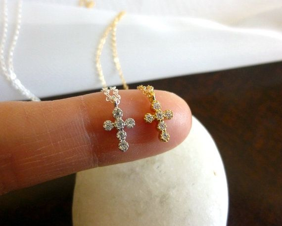 tiny gold cross necklace-small silver cross necklace-diamond cz cross necklace-tiny cross necklace-cross necklace for girls on Etsy, $29.00