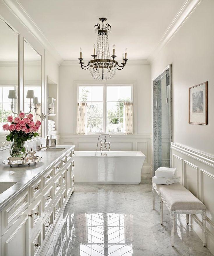 French Style White Bathroom Dream Bathrooms Beautiful Bathrooms Bathroom Remodel Master