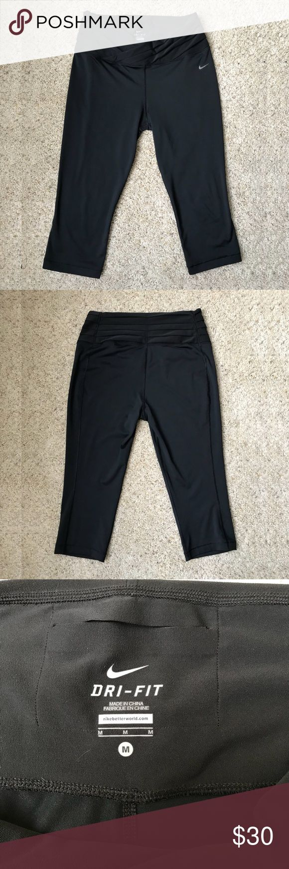 Nike Dri-FIT Black Capri Leggings Sporty Nike Dri-FIT Black Capri Leggings!  🏃🏻♀️ Size M 🏃🏻♀️ super stretchy & soft 🏃🏻♀️ ribbed waist detail 🏃🏻♀️ tapered waistline- very flattering! 🏃🏻♀️ small pocket for stuff  Materials Body: 88% Recycled Polyester  12% Spandex  Waistband: 88% Polyester  12% Spandex Gusset Lining: 100% Polyester Nike Pants Capris
