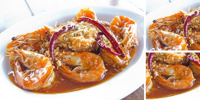 Vemale.com - Menikmati udang dengan siraman saus pedas dan nasi hangat.. nyam..