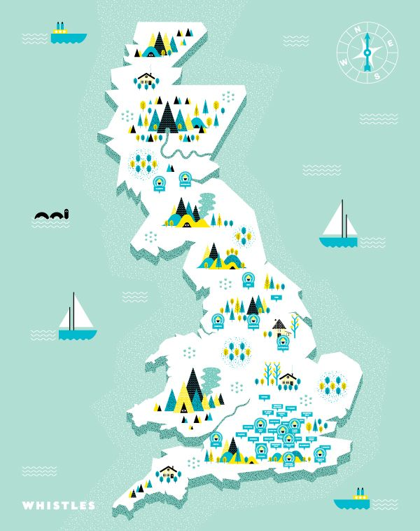 Whistles Treasure Map by Andrew Groves, via Behance