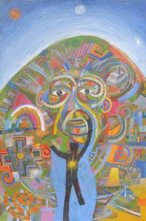 kutimuy kutimuy, volver al principio, simbologia sobre regresar al hijo iluminado de la madre naturaleza oleo sobre lienzo 140 x 90 cm  #Arte