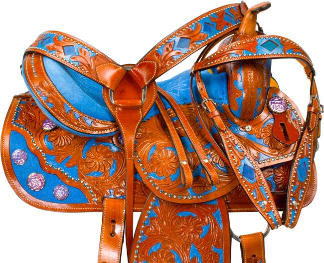 """Check out model 9661, the perfect barrel saddle for those that love blue inlay! Now on sale for only $399.99 in sizes 14-16""""! #blue #saddle #saddles #equine #equestrian #horse #horses #horsesaddle #western #westernsaddle #horsetack #tack #tackset #barrelracer #barrelracing #turnandburn #chasingcans #rodeo #country #barrelsaddle #barrelhorse"""