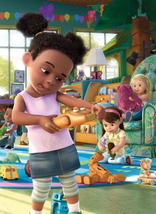dynastylnoire:animatedblackkids:One of the Sunnyside Daycare scenes from Disney and Pixar's Toy Story 3omg her hair! OMG