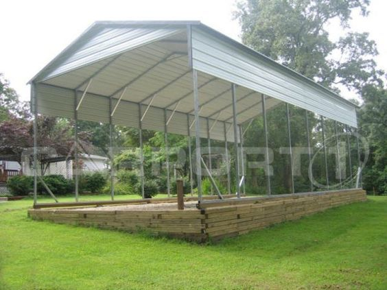 Carport1's metal RV carports are multi-purpose structures that are designed to accommodate most any type of RV. We offer steel carports that are used as motorhome covers, travel trailer covers, camper covers, and fifth-wheel covers.
