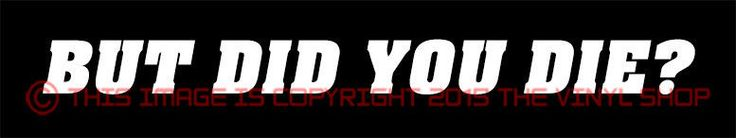 """x1 """"But Did You Die?""""  Funny, JDM Mr Chow hangover race car window decal sticker…"""