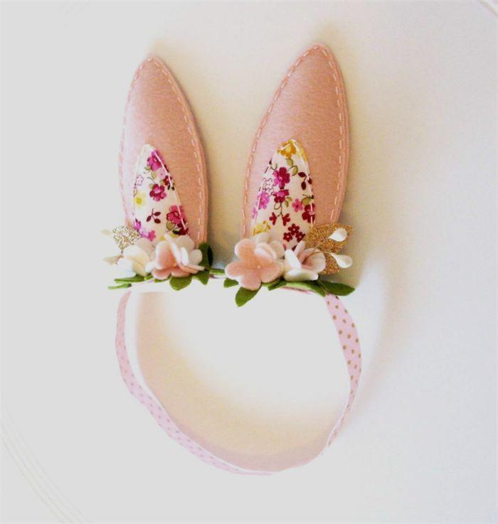 Pale Pink Bunny Ears Headband / Crown - pure wool felt, Easter, Floral headband