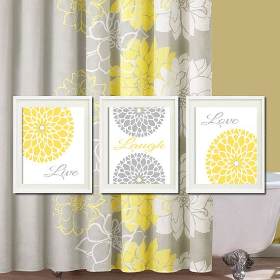Yellow Grey Gray Modern Floral Flower  by LovelyFaceDesigns on Etsy, $29.00  *for bathroom idea