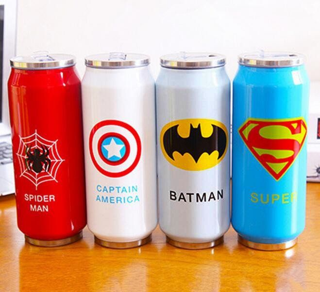 New Heros League Vacuum Flasks Straw Water Bottle 450ml Stainless Steel Thermos Mug Beverage Can