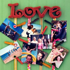 Make a photo collage with minimal holes using ribbon and clothespins.