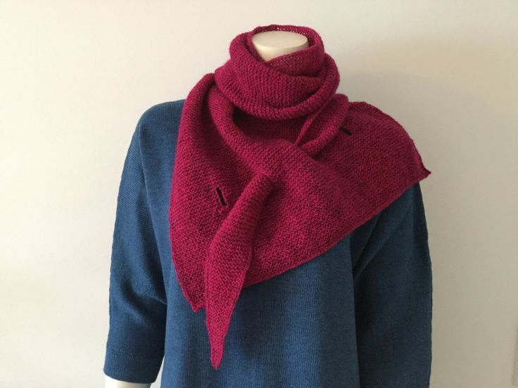 Hand knitted triangle shawl/scarf with key holes - pinned by pin4etsy.com