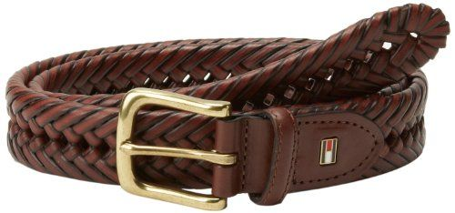 """Imported Hand-laced leather belt with single-prong buckle and enameled logo plate at tab{lang: """"""""}"""