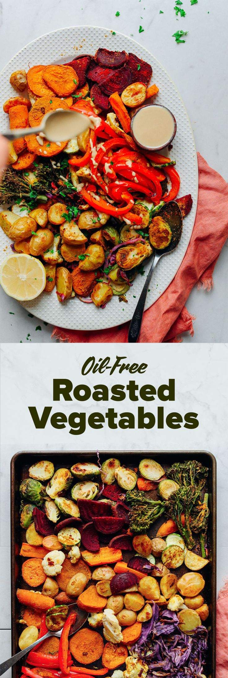 DELICIOUS Oil-Free Roasted Vegetables! 30 minutes, simple method,