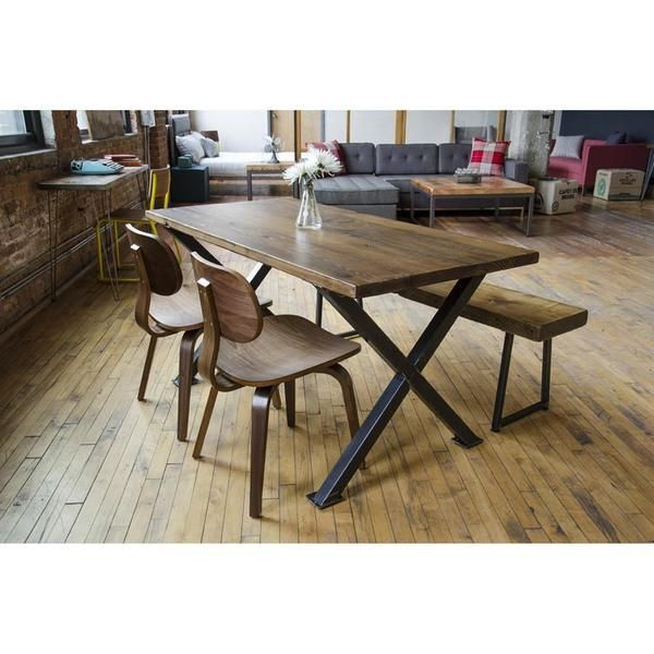 Industrial Modern X Frame Reclaimed Wood Conference Table
