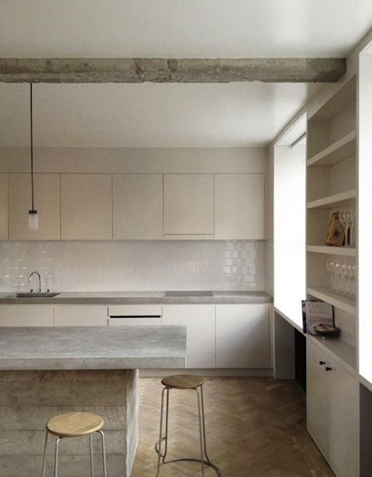 White Kitchen. Concrete counter. Parquet floor. Mono color scheme. #kitchen I love this!!!