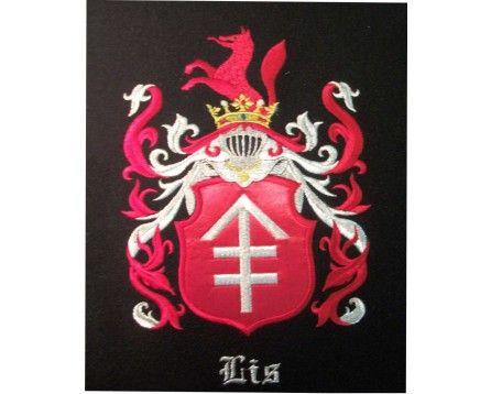 Herb rodowy LIS - coat of arms - AHA STUDIO Pracownia Haftu Artystycznego | HAFT ARTYSTYCZNY -HERBY, SZTANDARY, PROPORCZYKI  cena 250 zł.   ZAMÓW