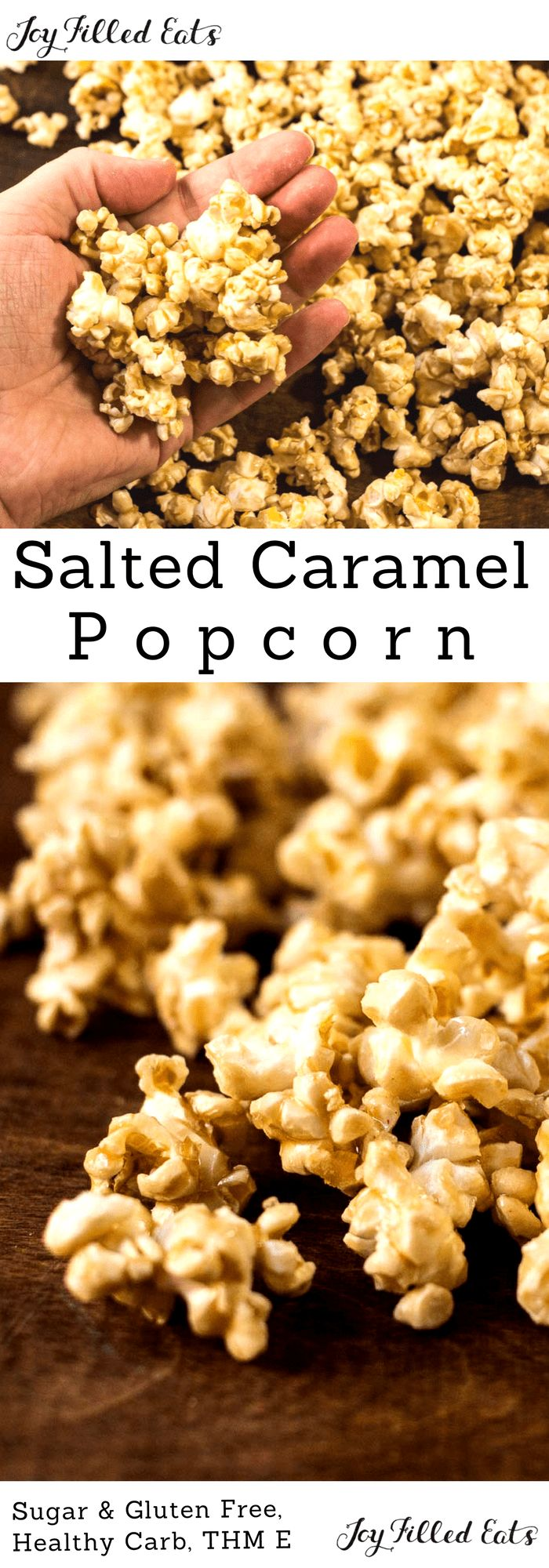Salted Caramel Popcorn - THM E, Sugar Free, Low Fat, Gluten Free, 5 ingredients, fast and easy! My Salted Caramel Popcorn is a delight. It only takes 5 ingredients and 15 minutes to whip up a batch of this sugar-free Trim healthy mama friendly treat.