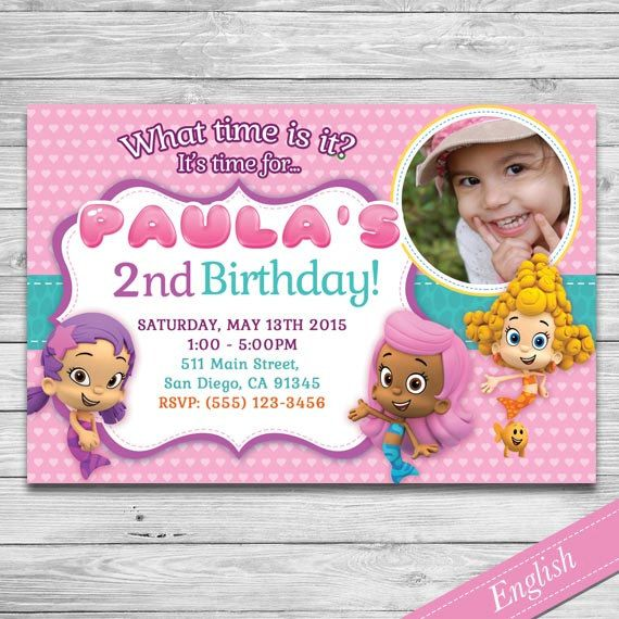 Bubble Guppies Invitation -  Custom Printable Invite - Nick Jr - Picture- Girl's Party by DsInvitations on Etsy