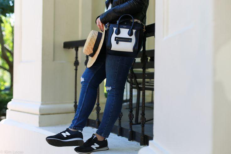 Casual style with #newbalance kicks and #celine bag.   #celineluggage  kimleow.com