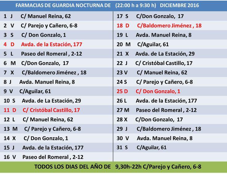 FARMACIAS DE GUARDIA DICIEMBRE 2016 PUENTE GENIL