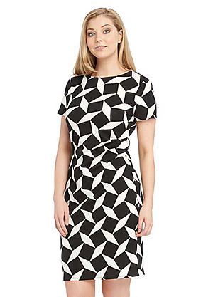 Roman Originals Geometric Textured Crepe Dress #kaleidoscope #monochrome