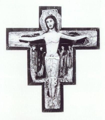 Anonimo , Sotio Alberto - scuola - sec. XIII - Croce dipinta - insieme, dopo la rimozione delle ridipinture