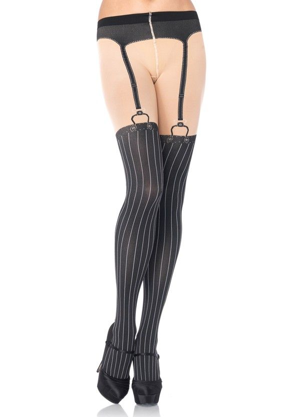 420436f42 Pinstripe Faux Thigh High Garter Derby Tights  New