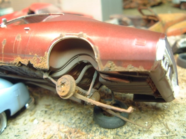 Scale Model Diorama Of Barn Finds And Junkyard Cars Trucks In