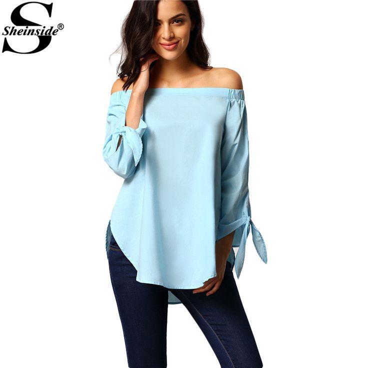 Sheinside женские рубашки новая одежда дизайн топы мода с длинным рукавом от плечу завязывают хлопок блузка купить на AliExpress