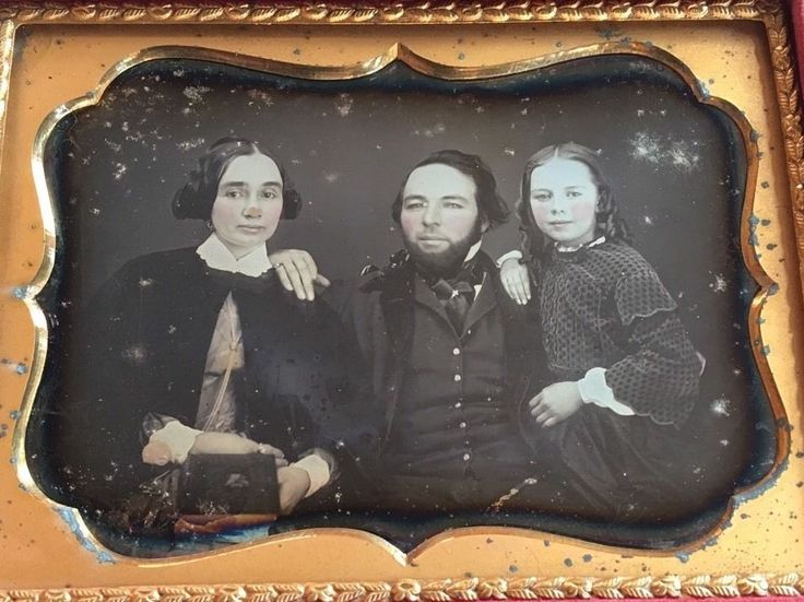 This is a daguerreotype of a beautiful young family the features a mom, dad, and their stunning young girl. The child is the star of the show! She is leaning on her father with a confident grin on her full tinted lips. | eBay!