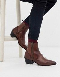 ASOS DESIGN stacked heel western chelsea boots in black leather with lightning d…