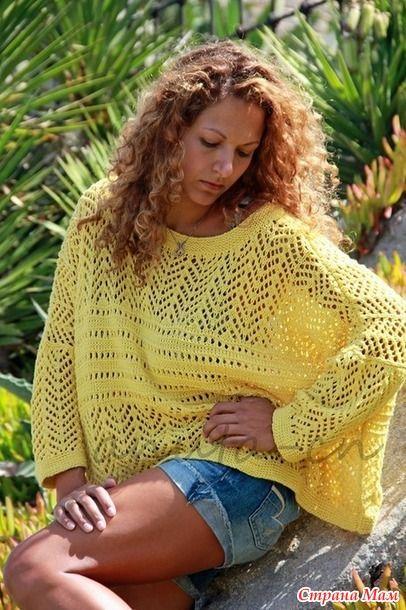 Летний пуловер-оверсайз спицами!