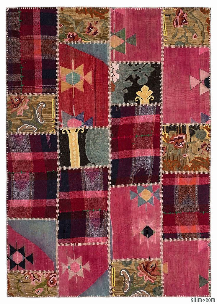 Kilim Patchwork Rug Created From Pieces Of Miscellaneous Vintage Handwoven Turkish Rugs Around 40 Years