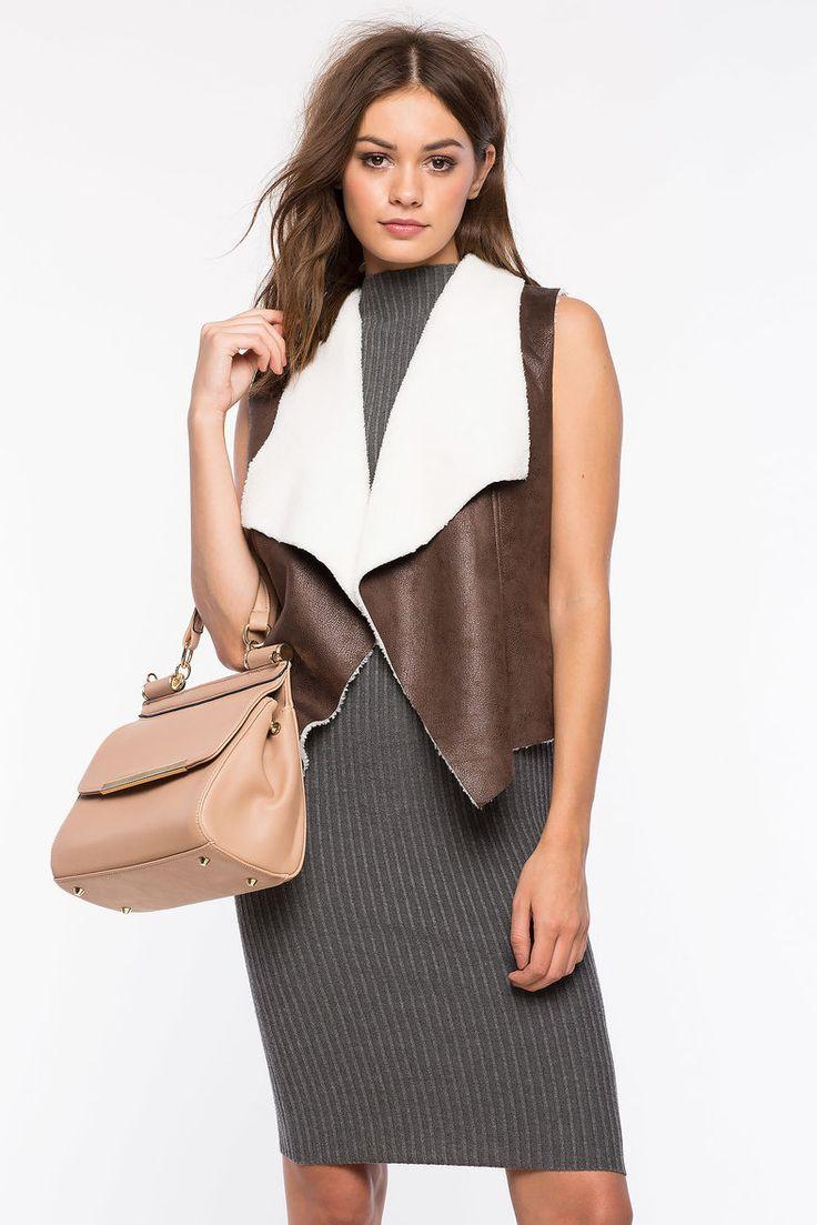 Замшевый жилет Размеры: S, M, L Цвет: коричневый Цена: 1353 руб.     #одежда #женщинам #жилеты #коопт