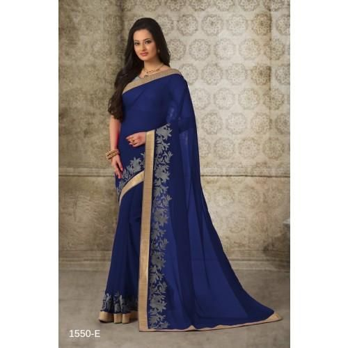 Rich look attire to give your a right choice for any party or function. Be the sunshine of anyone's eyes dressed with this interesting navy blue georgette casual saree. The ethnic patch border work to the attire adds a sign of elegance statement for your look. Comes with matching blouse.