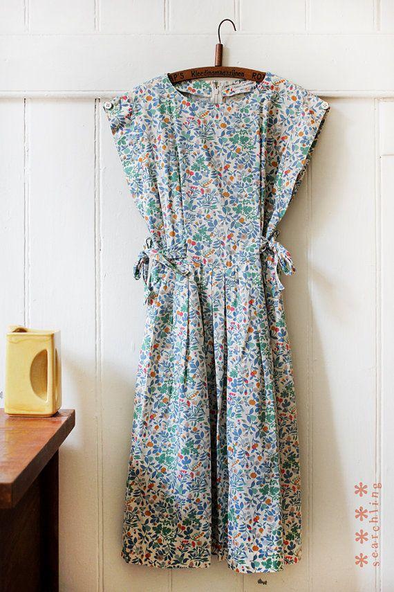 80's floral medium tie up dress