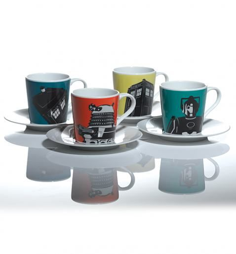 Doctor Who Boxed Espresso Set from BBC Worldwide. I would buy an espresso machine to justify owning these.
