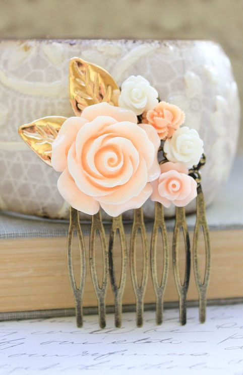 Peach Rose Comb Floral Collage Hair Accessories
